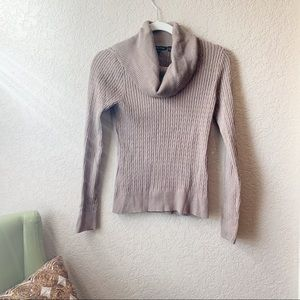 Soft brown cable knit fitted turtleneck/cowl neck